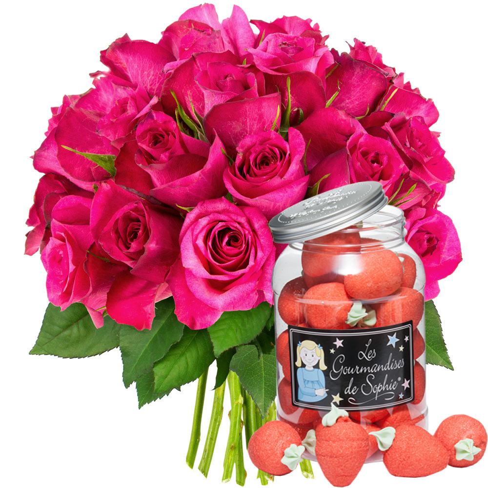 Cadeaux Gourmands 30 ROSES FUCHSIAS + BOCAL DE FRAISES