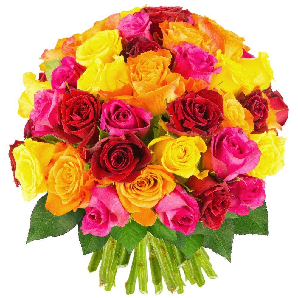 Bouquet de roses bouquet de roses multicolores livraison en russie florajet - Image bouquet de roses gratuit ...