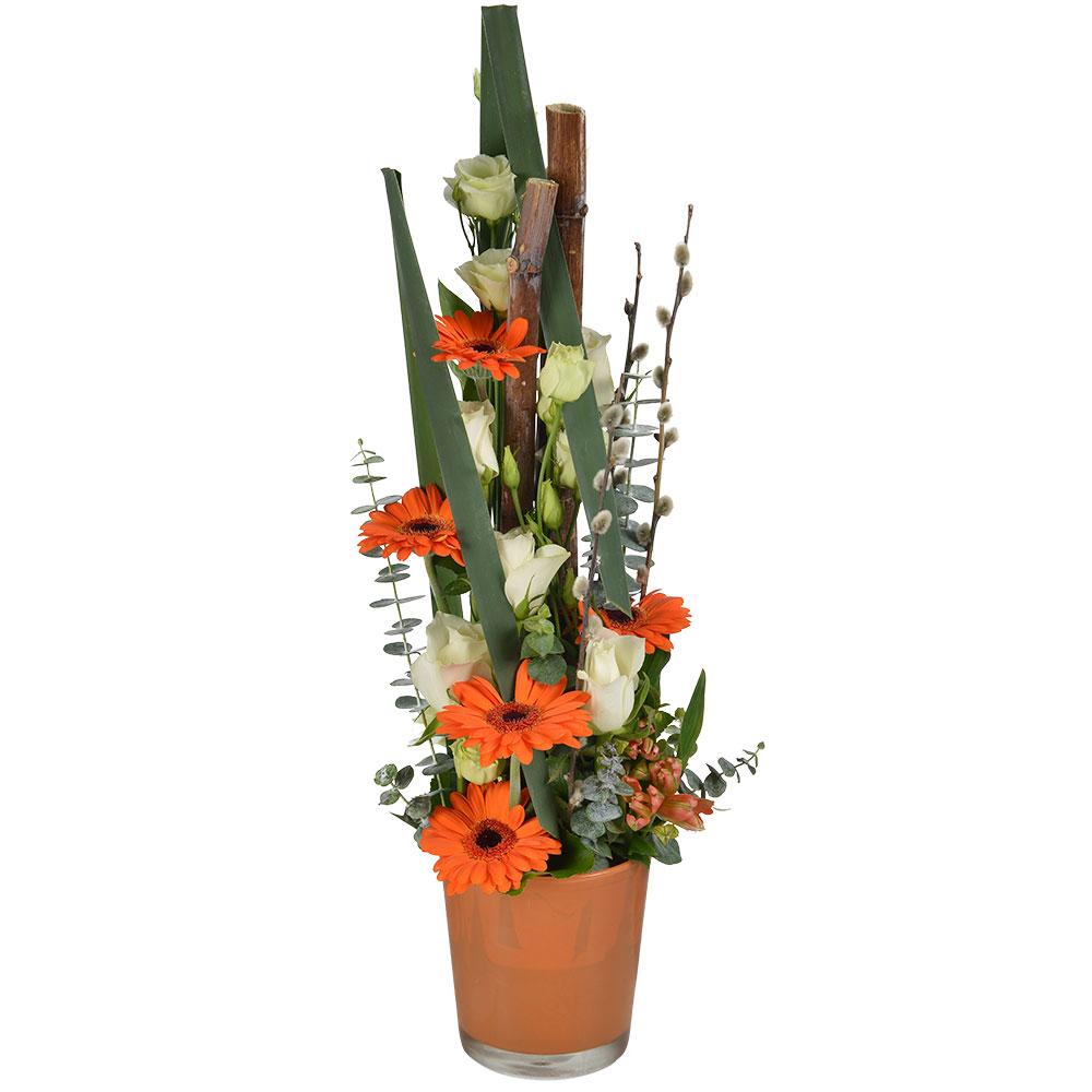 composition moderne blanche et orange regalo florajet. Black Bedroom Furniture Sets. Home Design Ideas