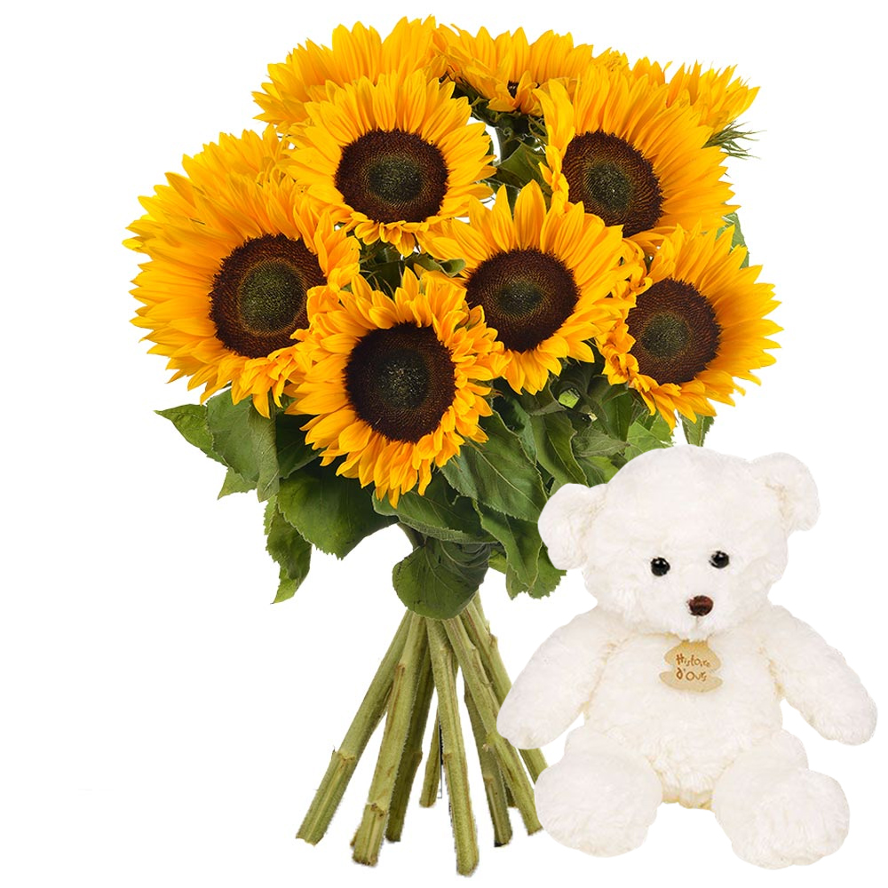 """cadeaux naissance """"bouquet de tournesols + ours"""" - livraison express"""
