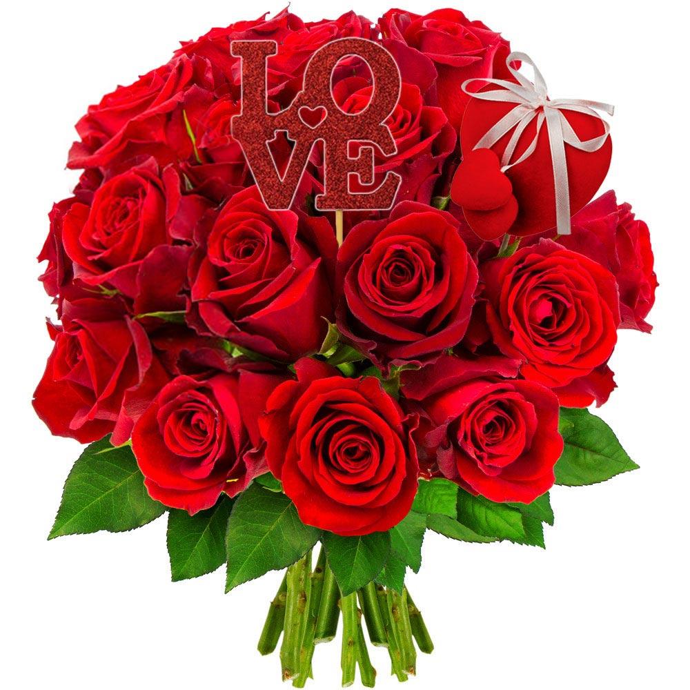 Cadeaux insolites 20 ROSES ROUGES + 2 PICS ST VALENTIN