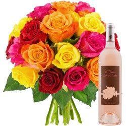 20 ROSES + VIN ROSE 75CL