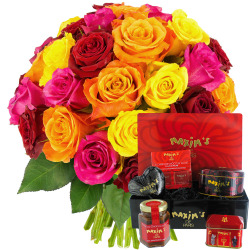 30 ROSES + COFFRET GOURMAND
