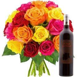 20 ROSES + VIN ROUGE 75CL