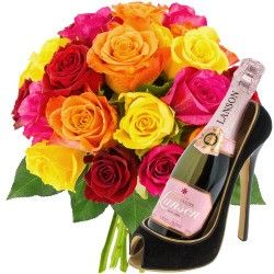 20 ROSES + CHAUSSURE 1/2 LANSON ROSE