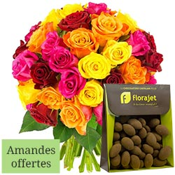40 ROSES + AMANDES CACAOTEES 150GR