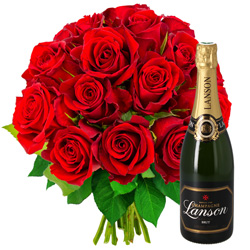15 ROSES ROUGES + CHAMPAGNE