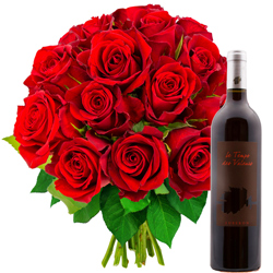 15 ROSES ROUGES + VIN ROUGE