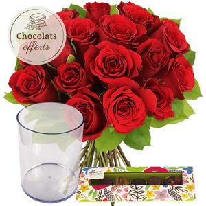 15 ROSES + VASE + CHOCOLATS