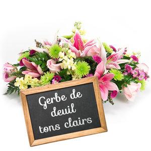 GERBE DE DEUIL TONS CLAIRS AU CHOIX DU FLEURISTE