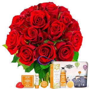 15 ROSES + TROUSSE AMANDE ET MIEL
