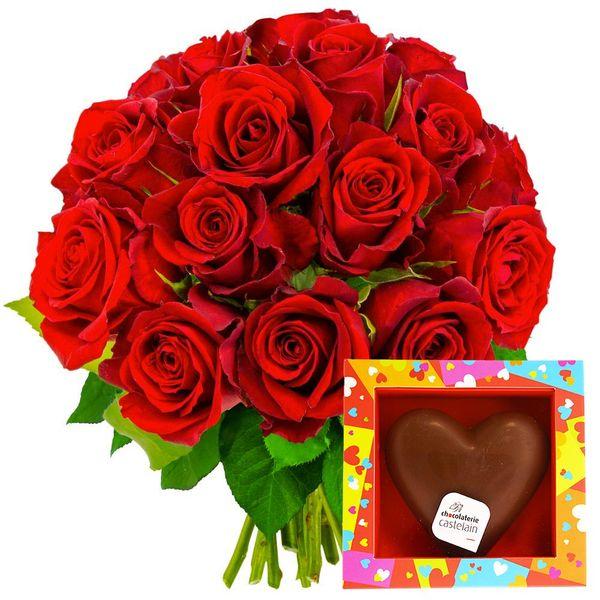 Cadeaux Gourmands 15 ROSES ROUGES + COEUR EN CHOCOLAT