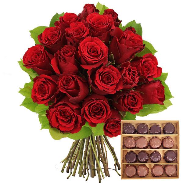 Cadeaux Gourmands 20 ROSES ROUGES + ROCHERS AU PRALINE