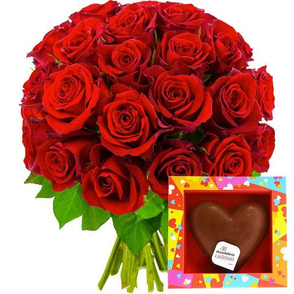 Cadeaux Gourmands 30 ROSES ROUGES + COEUR EN CHOCOLAT