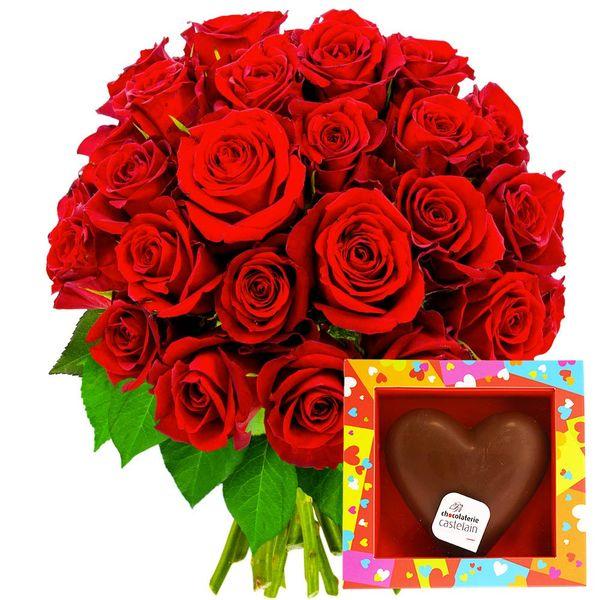 Cadeaux Gourmands 40 ROSES ROUGES + COEUR EN CHOCOLAT