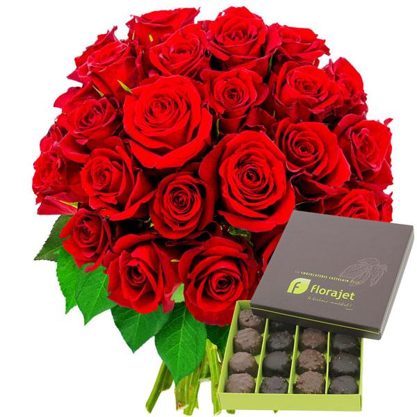 Cadeaux Gourmands 40 ROSES ROUGES + ROCHERS AU PRALINE