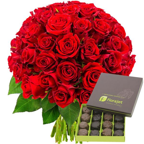 Cadeaux Gourmands 50 ROSES ROUGES + ROCHERS AU PRALINE