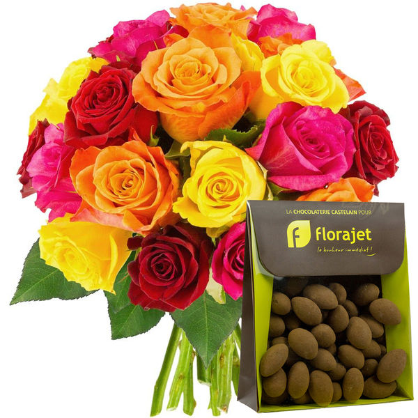Cadeaux Gourmands 20 ROSES MULTICOLORES + AMANDES CACAOTEES
