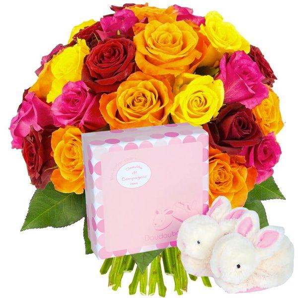 Cadeaux Naissance 30 ROSES MULTICOLORES + CHAUSSON ROSE LAPIN