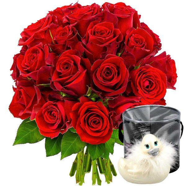 Cadeaux Sexy 20 ROSES ROUGES + CANARD VIBRANT