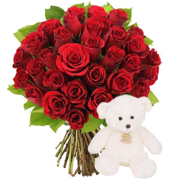 Cadeaux Naissance 30 ROSES ROUGES + OURSON BLANC