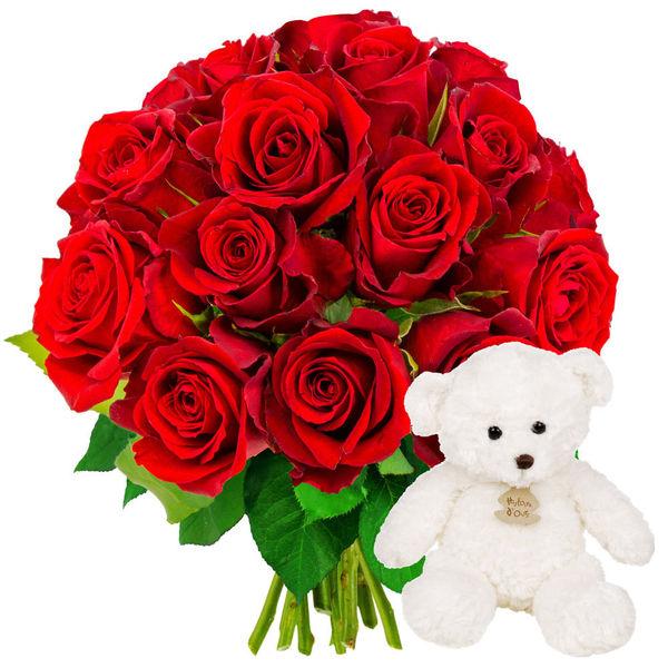 Cadeaux Naissance 15 ROSES ROUGES + OURSON BLANC