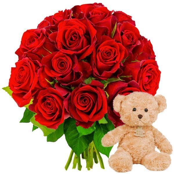 Cadeaux insolites 15 ROSES ROUGES + OURSON MARRON