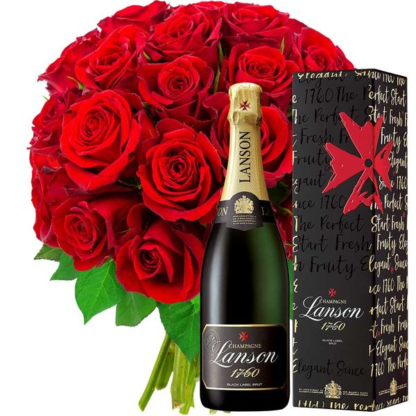 Cadeaux insolites 30 ROSES ROUGES + CHAMPAGNE LANSON BRUT 75CL