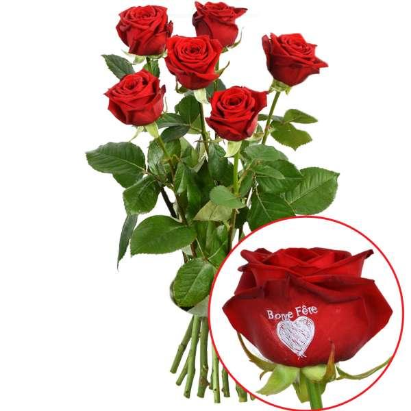 Bouquet de roses 5 + 1 ROSE MARQUEE BONNE FETE 60CM