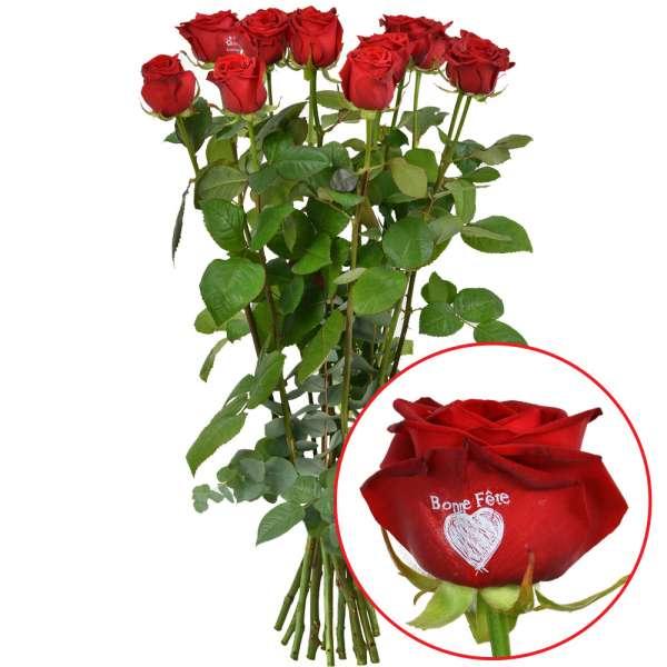 Bouquet de roses 11 + 1 ROSE MARQUEE BONNE FETE 50CM