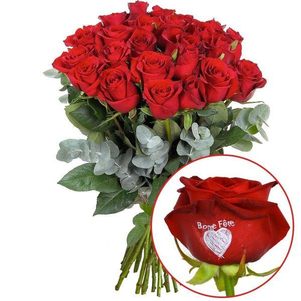 Roses marquées 23 + 1 ROSE MARQUEE BONNE FETE 50CM