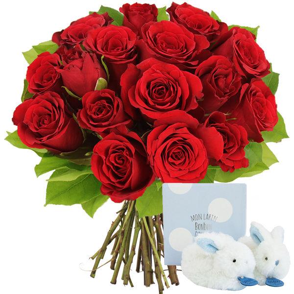 Cadeaux Naissance 15 ROSES ROUGES + CHAUSSON BLEU LAPIN