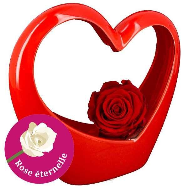 Bouquet De Roses Coeur Rouge En Ceramique Et Sa Rose Rouge