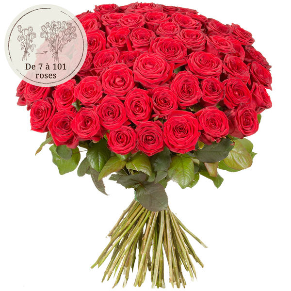 Bouquet de roses 60 GRANDES ROSES ROUGES