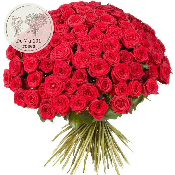 Bouquet de roses 90 GRANDES ROSES ROUGES