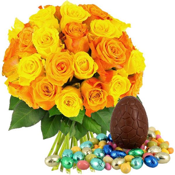 Bouquet De Roses 30 Roses Jaunes Et Orange Oeufs Livraison