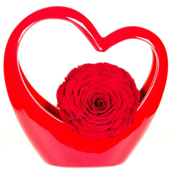 Bouquet de roses MINI COEUR CERAMIQUE ROUGE + ROSE STABILISEE ROUGE