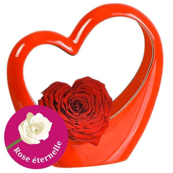 Bouquet de roses MINI COEUR ROUGE + ROSE STABILISEE ROUGE EN COEUR