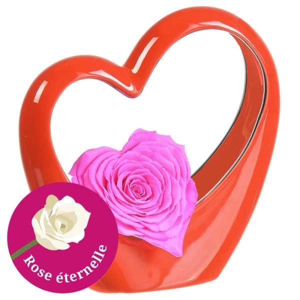 Bouquet de roses MINI COEUR ROUGE + ROSE STABILISEE ROSE EN COEUR