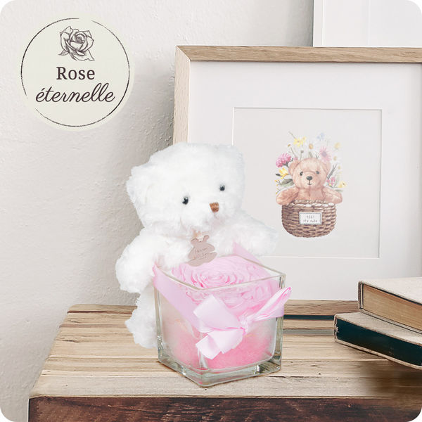 Bouquet de roses OURSON + ROSE ETERNELLE ROSE + VERRINE CARREE