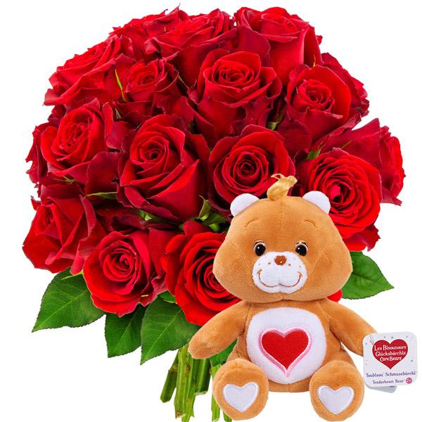 Cadeaux insolites 20 ROSES ROUGES + BISOUNOURS MARRON
