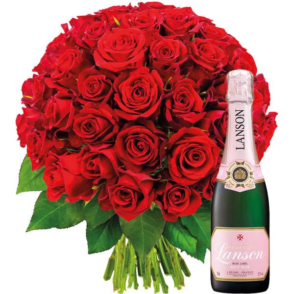 Cadeaux insolites 50 ROSES ROUGES + CHAMPAGNE 1/2 LANSON ROSE