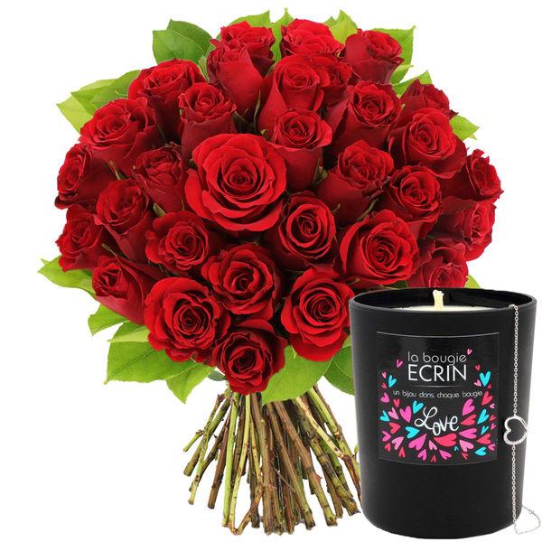 Cadeaux insolites 30 ROSES ROUGES + BOUGIE-BIJOU LOVE