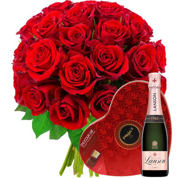 Cadeaux Gourmands 30 ROSES ROUGES + COEUR MAXIM'S + 1/2 LANSON ROSE