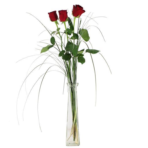 Bouquet de roses 3 ROSES ROUGES + SOLIFLORE