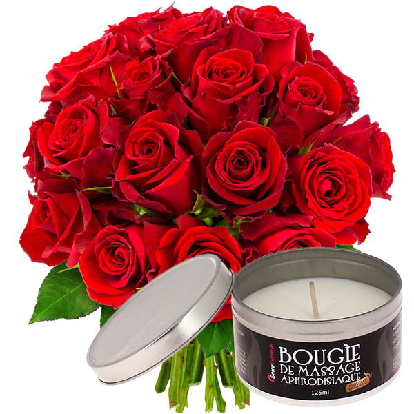 Cadeaux Sexy 20 ROSES ROUGES + BOUGIE DE MASSAGE