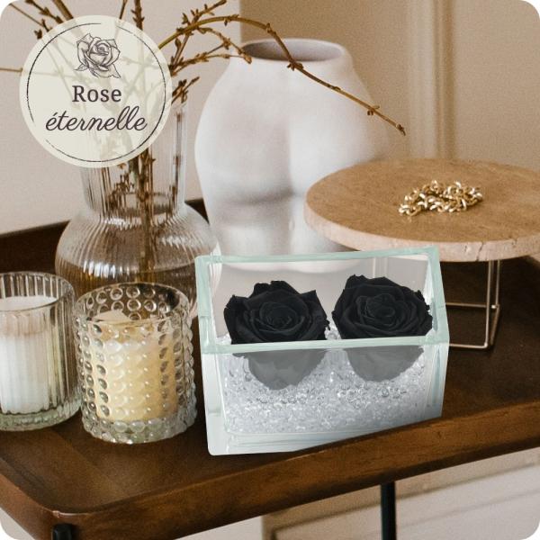 Les Roses ROSE ETERNELLE NOIRE + POT EN VERRE RECTANGULAIRE