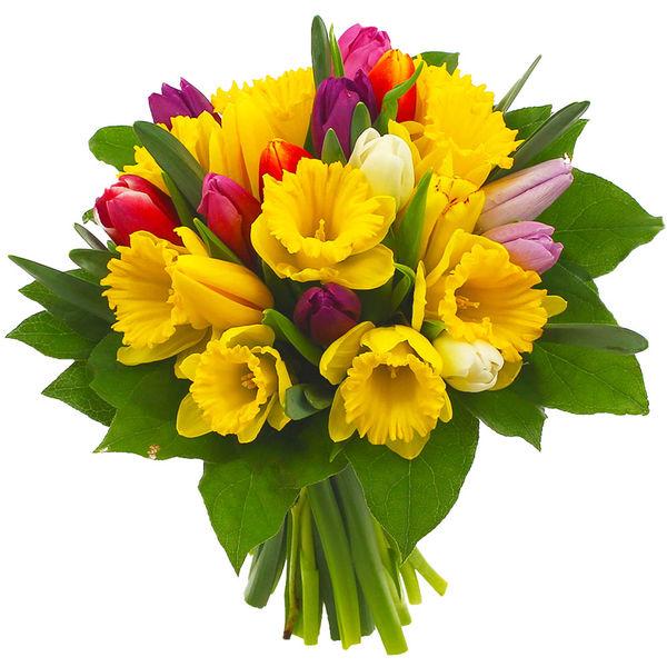 Bouquet rond 15 TULIPES ET 10 JONQUILLES