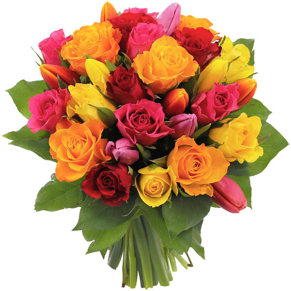 Bouquet rond 20 ROSES MULTICOLORES + 10 TULIPES