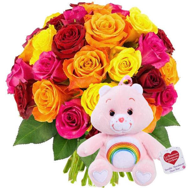Cadeaux insolites 30 ROSES MULTICOLORES + BISOUNOURS ROSE